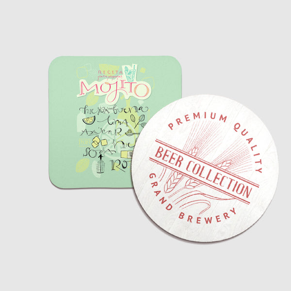 Personalised square or circular drinks coasters with cork bottom