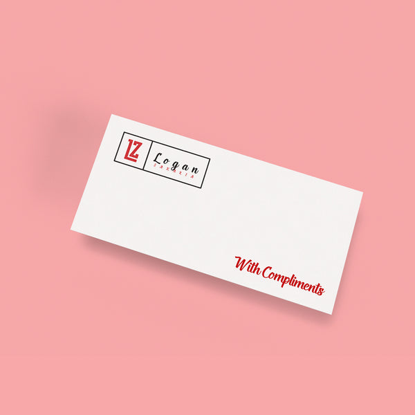 Your design printed on Compliments Slips