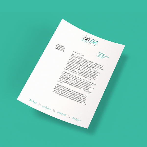Creative Design Personalised Letterhead For Personal And Businesses Printed on Quality Paper In Full Colour Or Black And White