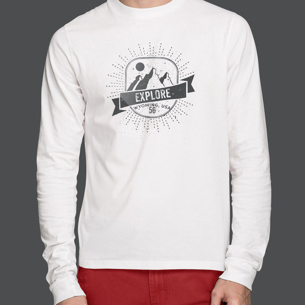 Creative Designed Personalised Design On Front Of White Long Sleeved Mens T-shirt