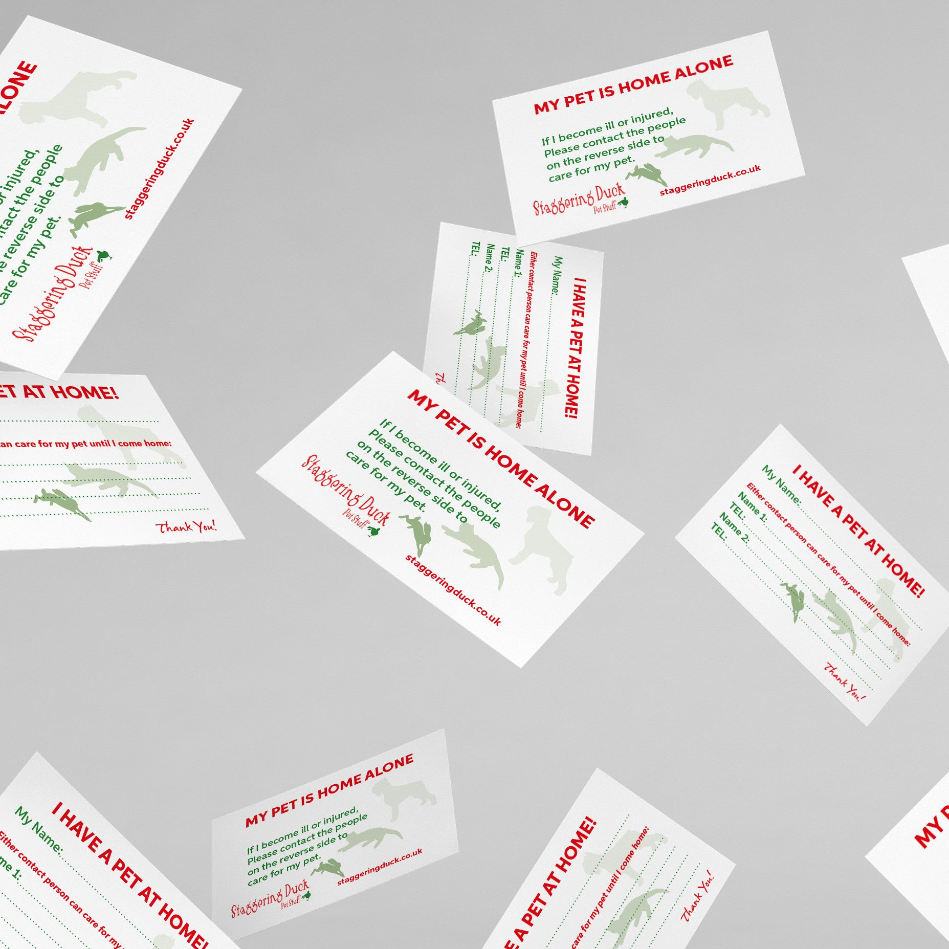 Personalised emergency contact cards for parents, pet owners and children