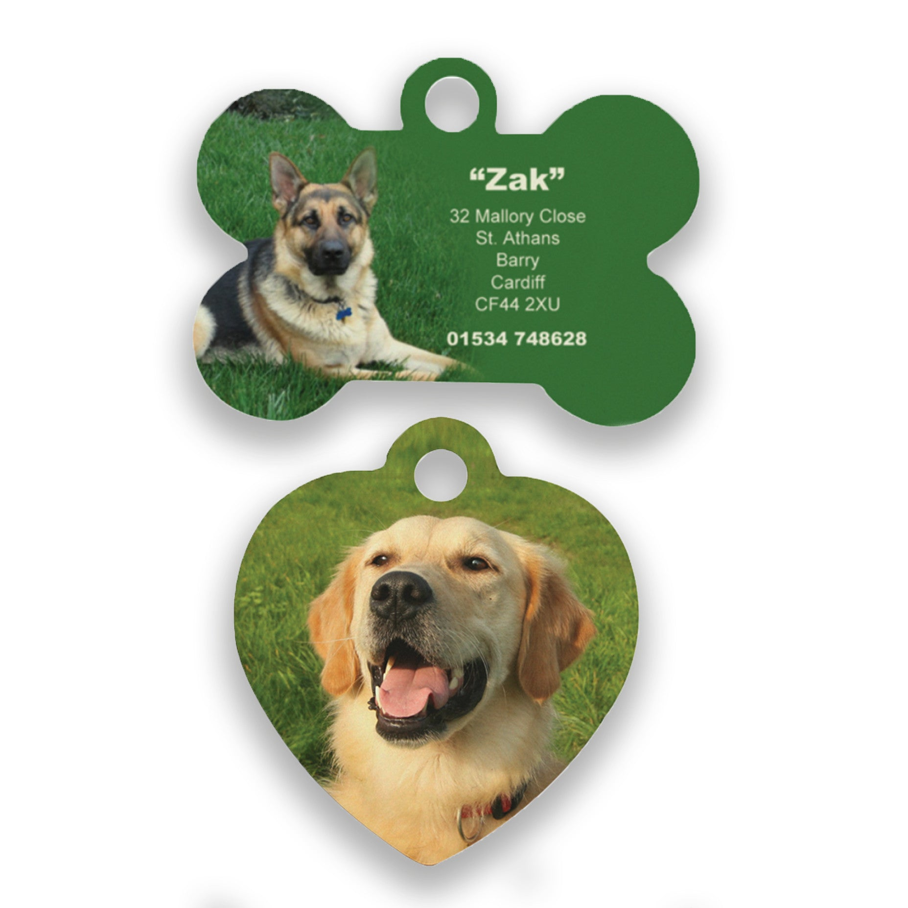 Creative Personalised Designed Pet ID tags for Dogs And Cats in A bone, Heart, Paw, Diamond, Cat Face, Star, Circle, Flower, Shield, Oval, Octagon Shapes