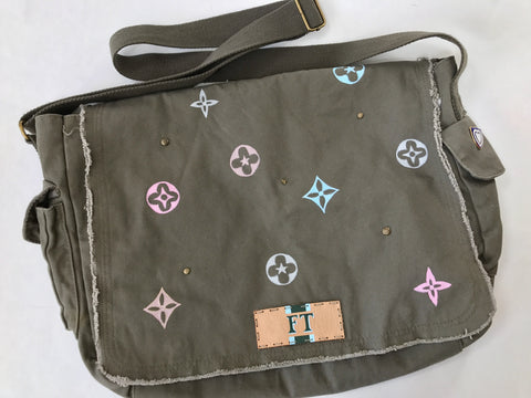 Olive/khaki Crossbody messenger bag with hand painted flowers and clovers