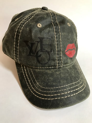 Women and teen faux leather olive hand-painted love and lips cap
