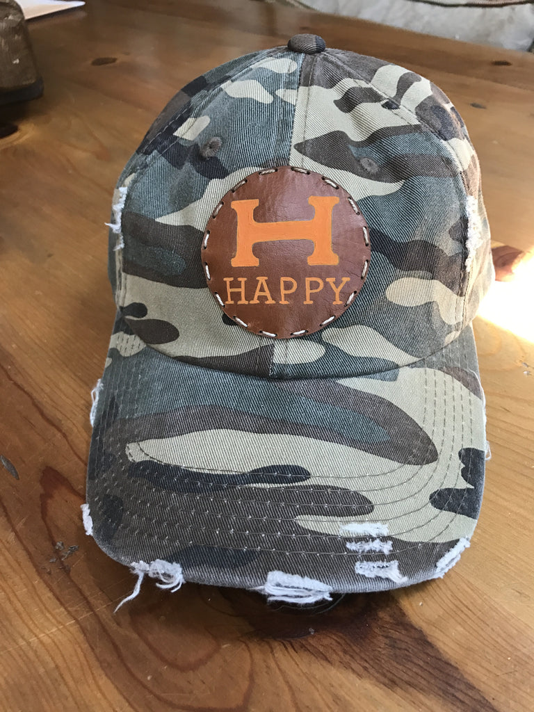 Distressed  Camo cap with hand painted H happy leather patch