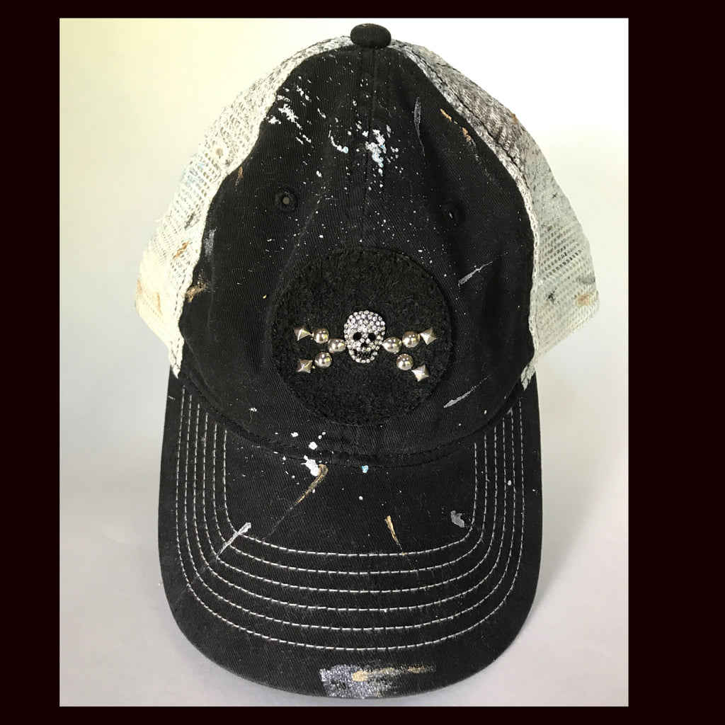 Splatter paint SnapBack  trucker cap with hand started skull patch