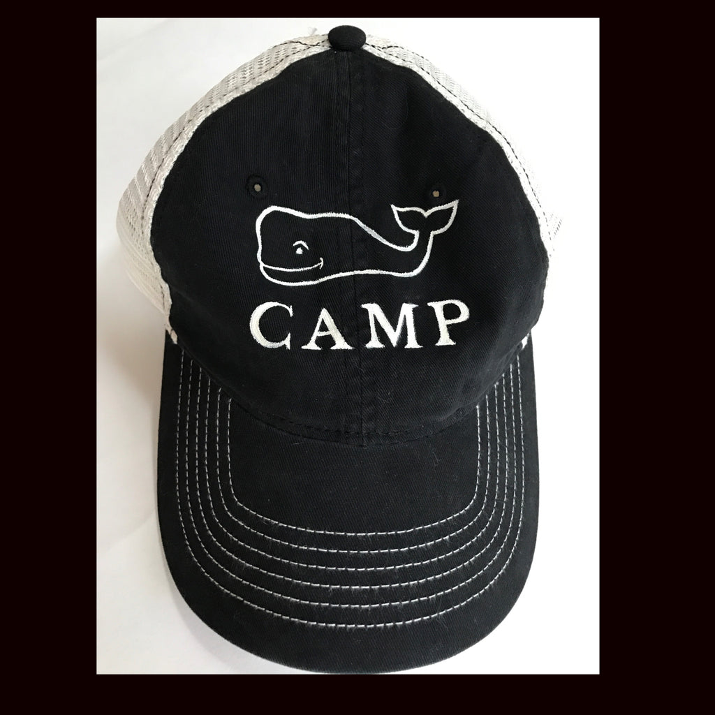 Camp Snapback trucker cap with handpainted whale logo