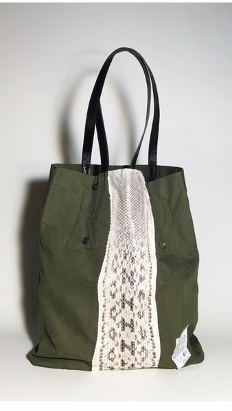 Your choice of black, green or white snake skin US Military tent tote bag