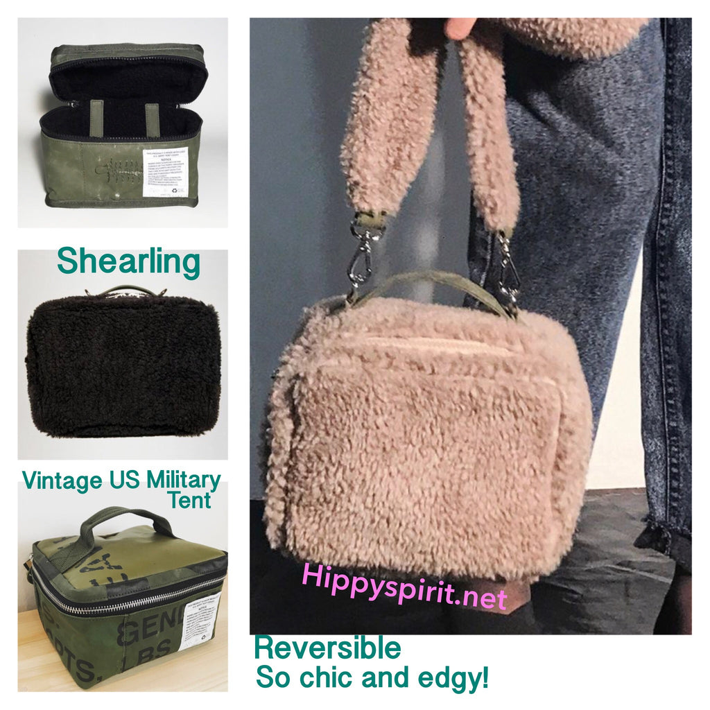 One of a kind reversible genuine Shearling and Military tent bag with strap