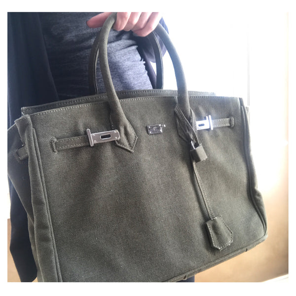 Olive green colored  canvas buckle tote handbag with or without personalized hand painting