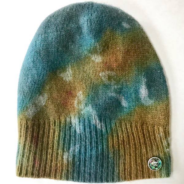 Hand dip dyed avocado green and teal blue slouchy cashmere beanie with authentic Chanel button