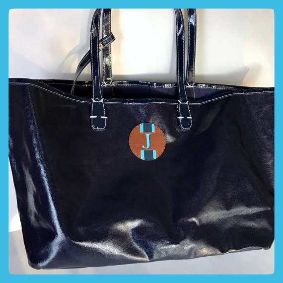 navy or gray coated canvas tote bag with hand painted Initial or monogram
