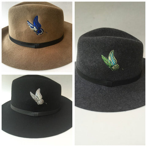 Choice of brown, black or gray wool fedora with embroidred butterfly