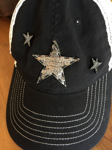 Black trucker style snapback adjustable cap with leather gunmetal star patch & pave star charms