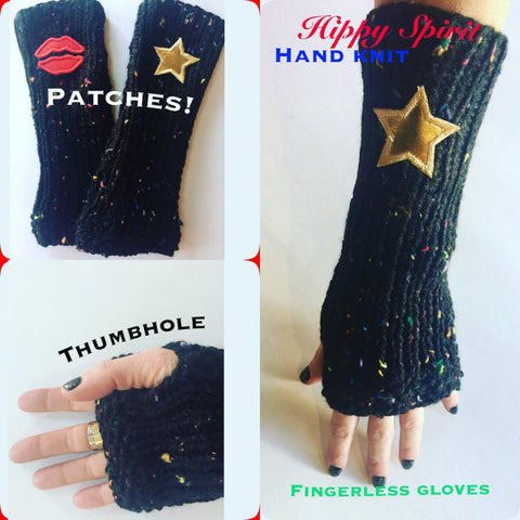Women and teen acrylic handknit fingerless gloves/arm warmers with embroidered patches