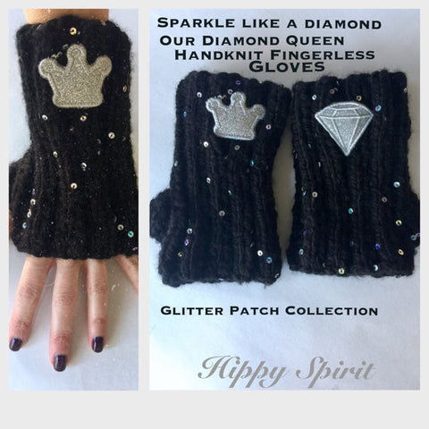 Handknit palette sequin diamond queen glitter arm warmers/texting gloves/fingerless gloves