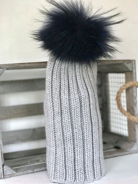 Gray knit 100% soft acrylic slouchy or fold up beanie with navy blue pom pom