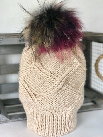 100% acrylic beige slouchy beanie with multicolor fox pom pom