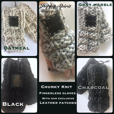 Handmade chunky knit acrylic and wool blend fingerless gloves/arm warmers with leather patch