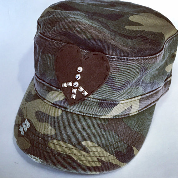 military style camo adjustable cap with distressing and suede studed heart