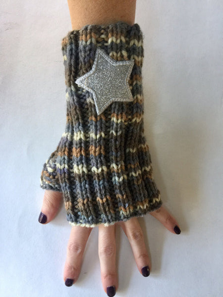 Hand knit acrylic glitter patch moon and star texting gloves/arm warmers/fingerless gloves