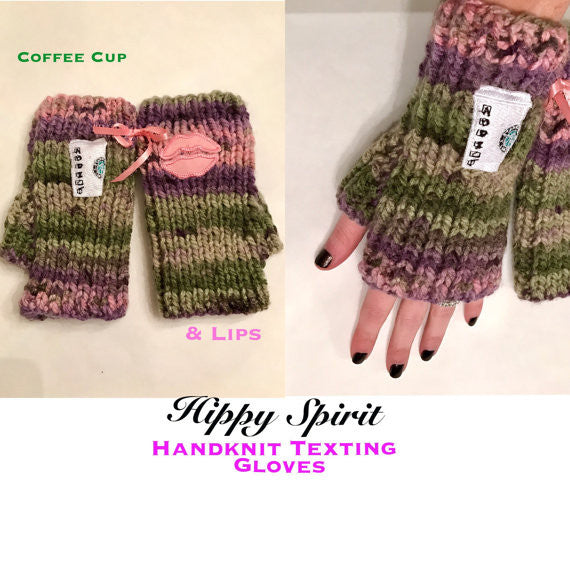 Acrylic handknit fingerless gloves/arm warmers with embroidered patches