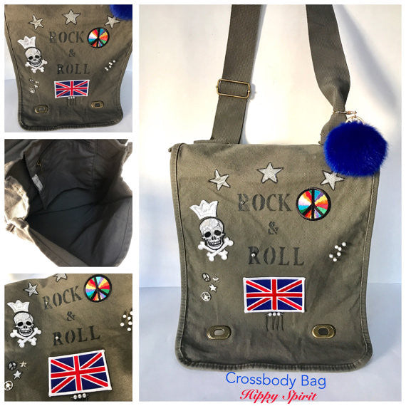 Military inspired cotton canvas rock and roll field bag