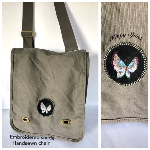 Cotton canvas cross body bag with embroidered butterfly patch