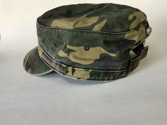 rock on distressed, military inspired cap