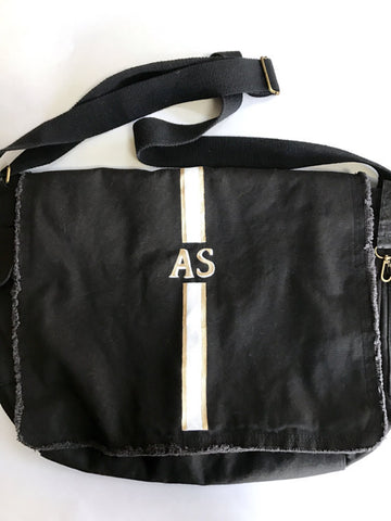 canvas crossbody bag handpainted with initials or monogram with or without stripes and choice of colors