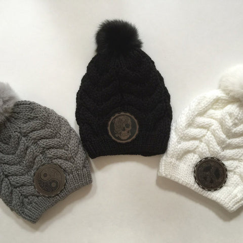Fur Pom Pom Beanie with Your Choice of Yin Yang, Skull or Peace Sign Leather Patch