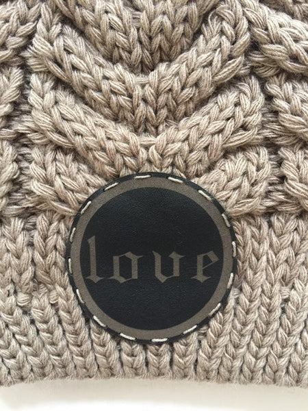 Cable Knit Beanie-Choice of Infinity Love, Love or Hamsa Leather Patch