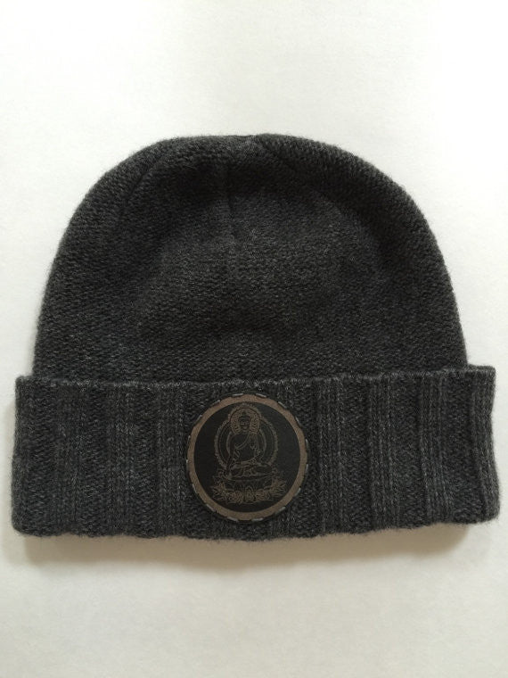 Cashmere Fold-up style Skull Cap Beanie with Leather Buddha Patch