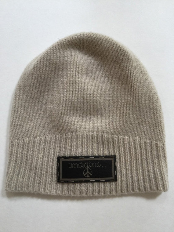 Cashmere Beanie Hat with Genuine Leather Imagine Patch