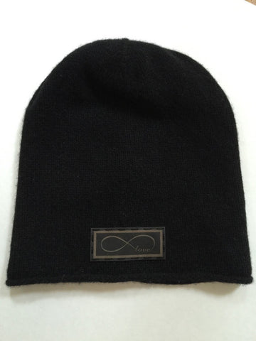 Cashmere Beanie Hat with Genuine Leather Infinity Love Patch