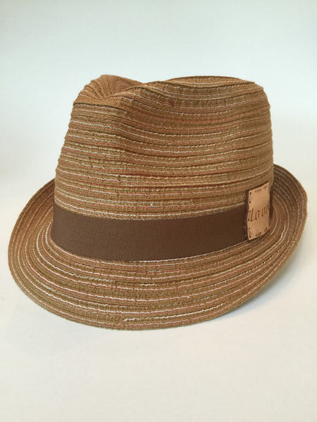 Multicolor brown fedora with custom leather patch