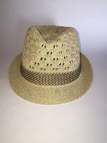 Woven textured choice of tan or black fedora with custom leather patch