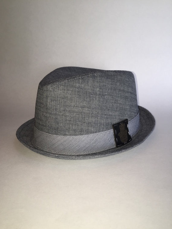 Cotton denim charcoal colored fedora with custom patch