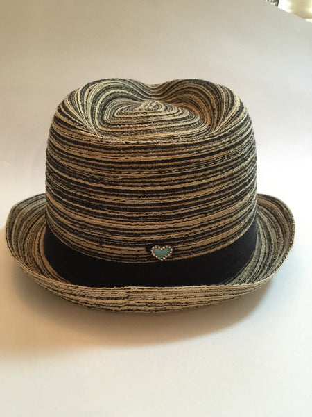 Multicolor black fedora with leather patch of your choice