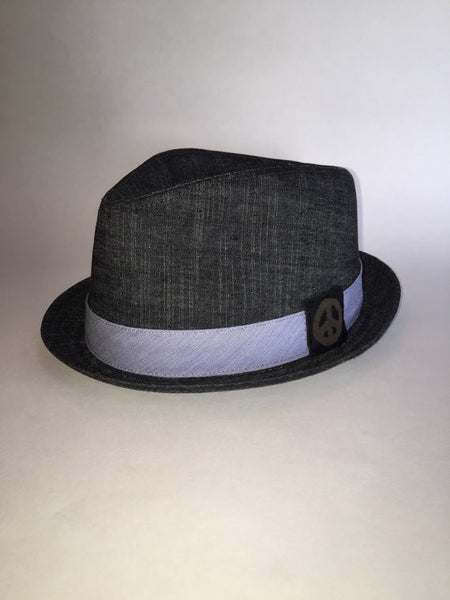 Cotton denim black fedora hat with custom leather patch