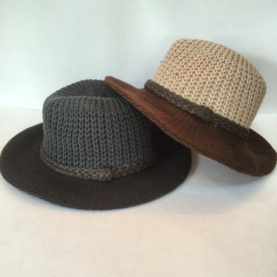"Choice of beige/brown or gray/brown 3"" brim knit fedora"