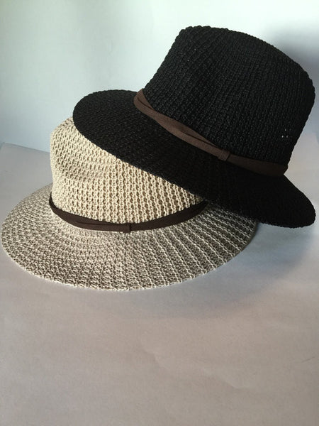 Custom black or tan women's fedora with choice of guitar pick message
