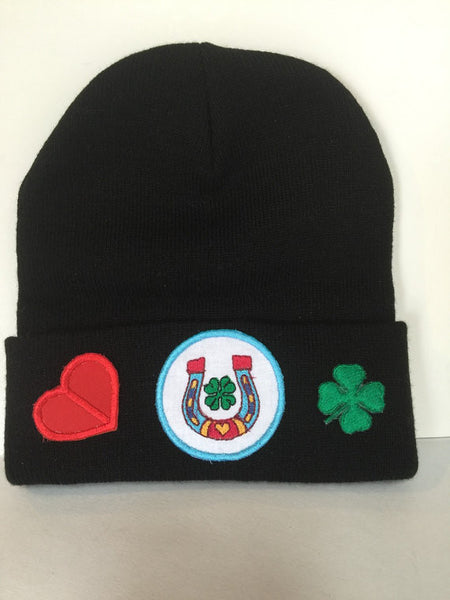 Choice of women or teen fold up fitted beanie with embroidered patches
