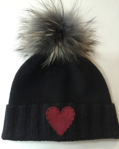 Cashmere fold up beanie with detachable fox pom-pom and red suede heart patch