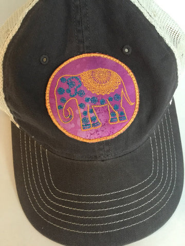 Boho Chic Embroidered Elephant & Buddha Patch Gray Trucker Cap