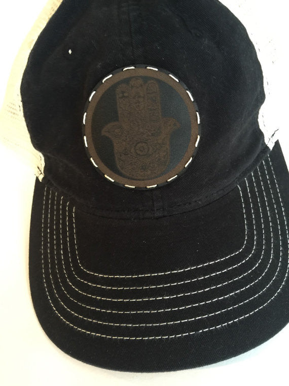 Women and Teen black Trucker Cap with Leather Hamsa Patch