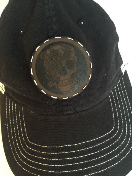 Black Adjustable Trucker Style Cap with Leather Skull Patch