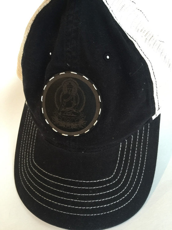 Women & Teen black trucker style cap with Buddha leather patch
