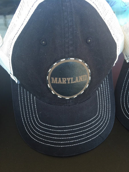 Unisex black trucker style cap with your choice of college/school
