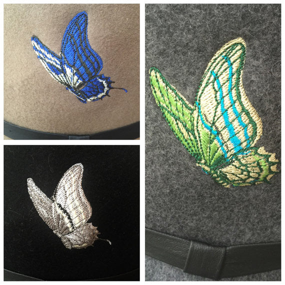 Choice of brown, black or gray wool fedora with embroidered butterfly